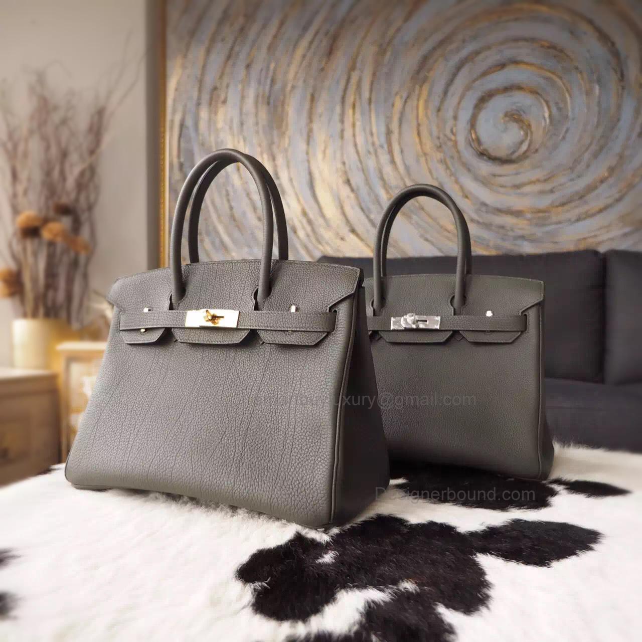 Hand Stitched Hermes Birkin 35 Bag in 6c Vert Gris Togo Calfskin - 7f2c790936d1e