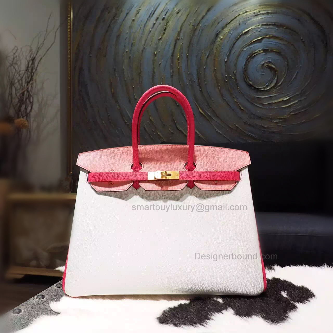 Hand Stitched Birkin 35 Bag in Multicolored 1q Rose Confetti Epsom Calfskin GHW