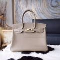 Hand Stitched Hermes Birkin 30 Bag in ck18 Etoupe Swift Calfskin GHW