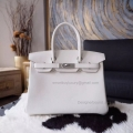 Hand Stitched Hermes Birkin 30 Bag in cc10 Craie Swift Calfskin SHW