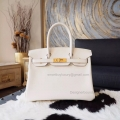 Hand Stitched Hermes Birkin 30 Bag in cc10 Craie Swift Calfskin GHW