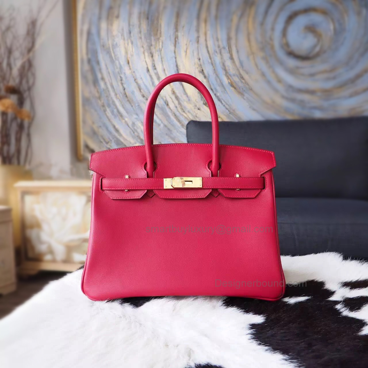 Hand Stitched Hermes Birkin 30 Bag in b5 Ruby Swift Calfskin GHW