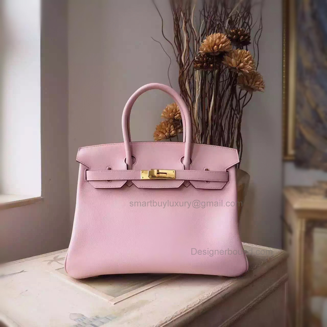 Hand Stitched Hermes Birkin 30 Bag in 3q Rose Sakura Swift Calfskin GHW