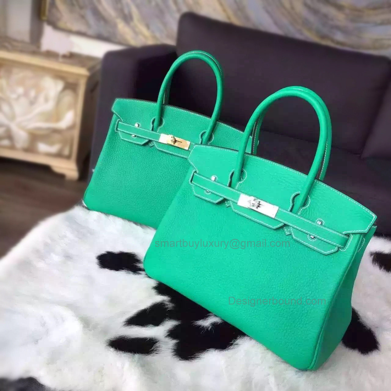 Hand Stitched Hermes Birkin 30 Bag in 6w Menthe Clemence Calfskin
