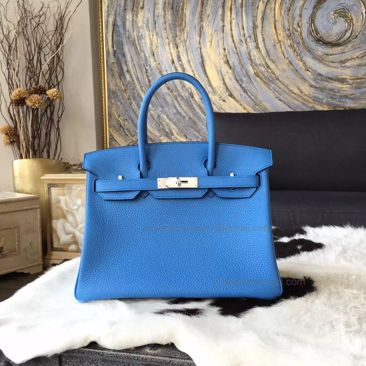 Hand Stitched Hermes Birkin 30 Bag in 2t Blue Paradise Clemence Calfskin SHW