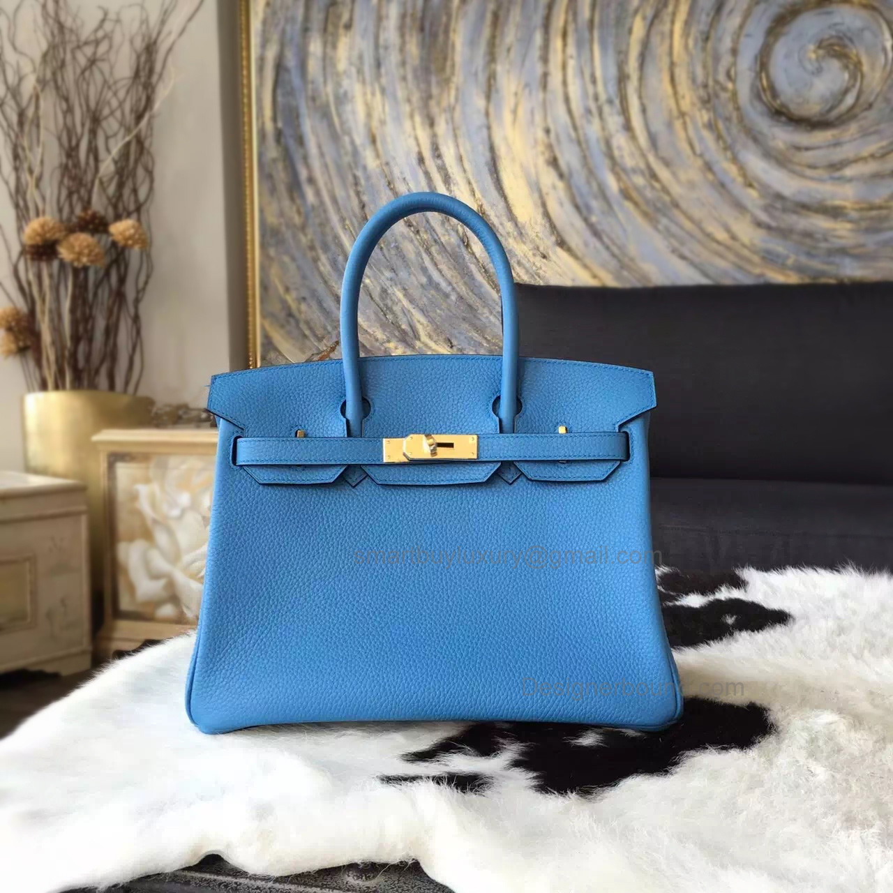 Hand Stitched Hermes Birkin 30 Bag in 2t Blue Paradise Clemence Calfskin GHW