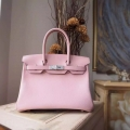 Hand Stitched Hermes Birkin 30 Bag in 3q Rose Sakura Swift Calfskin SHW