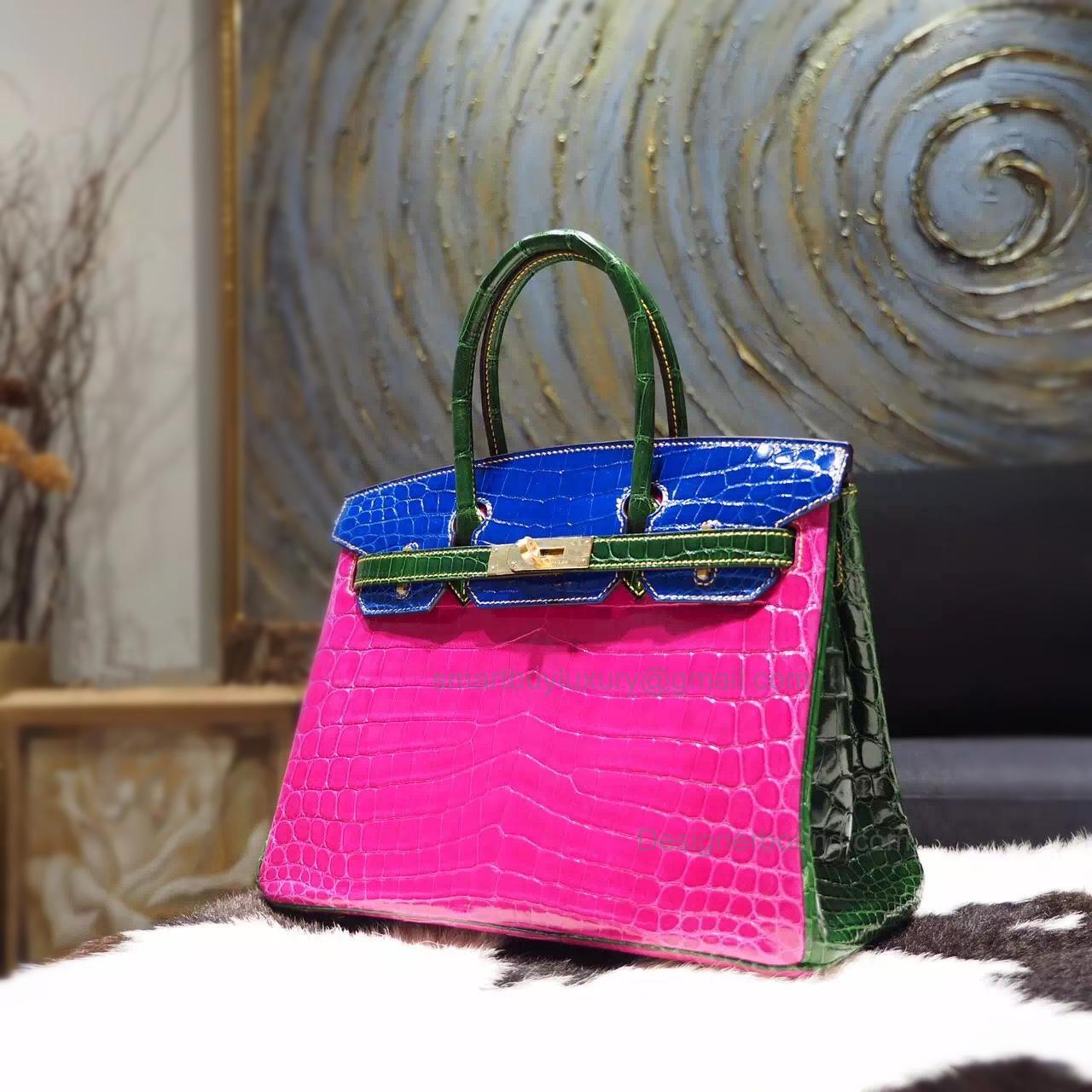 2ba66c522b Hand Stitched Birkin 30 Bag in Multicolored j5 Rose Shining Nile Croc GHW
