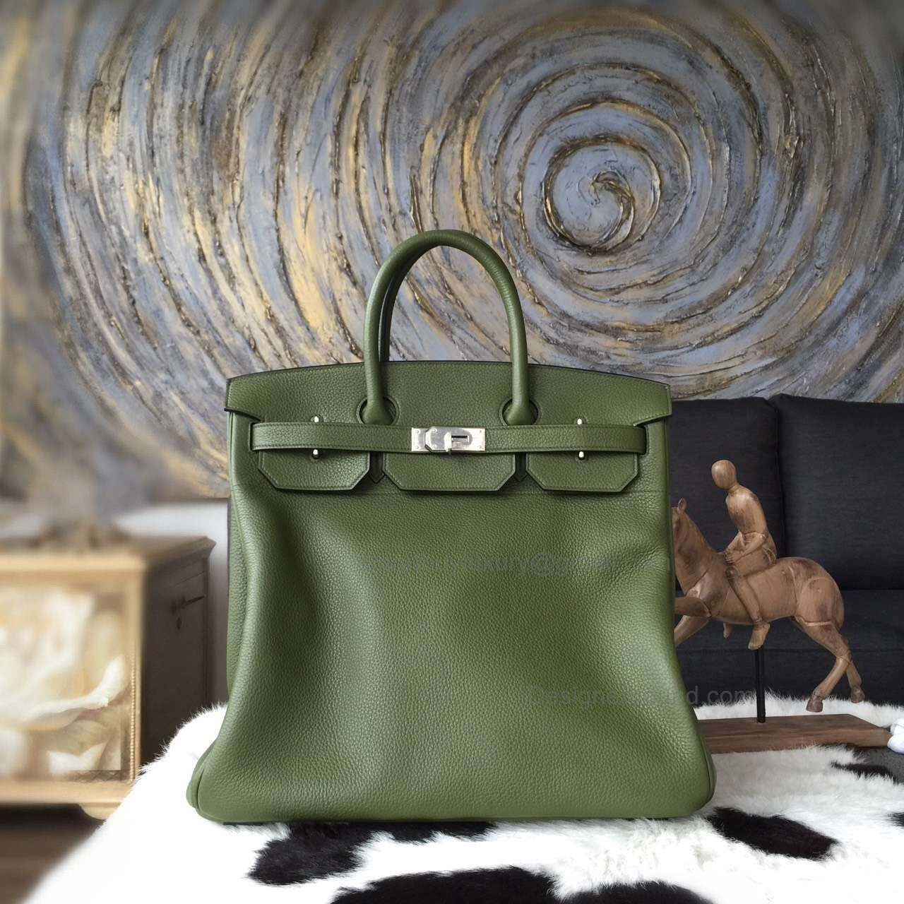 Hand Stitched Hermes Birkin Hac 40 Bag in V6 Canopee Clemence Calskin SHW