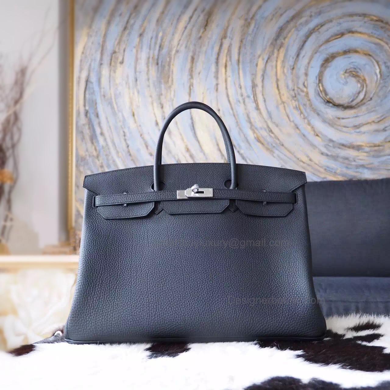 5ed60d2b92fe Hand Stitched Hermes Birkin 40 Bag in ck89 Noir Togo Calfskin SHW