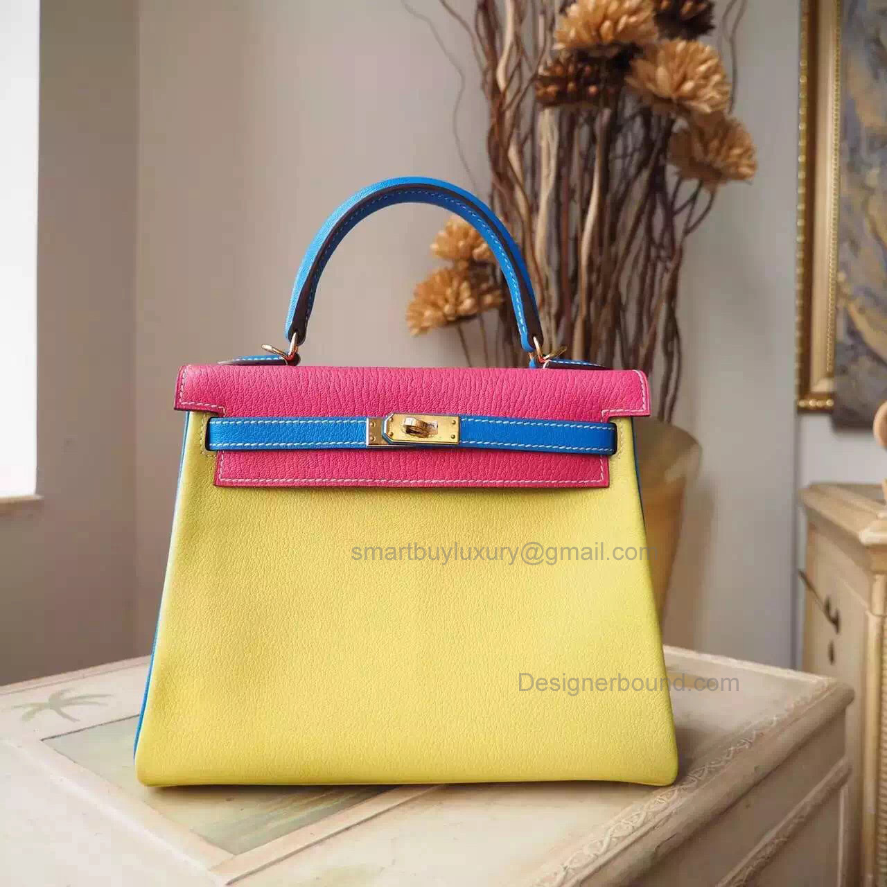 Fake Hermes Kelly 25 Bag in Multicolored c9 Soufre Chevre Myzore Goatskin GHW