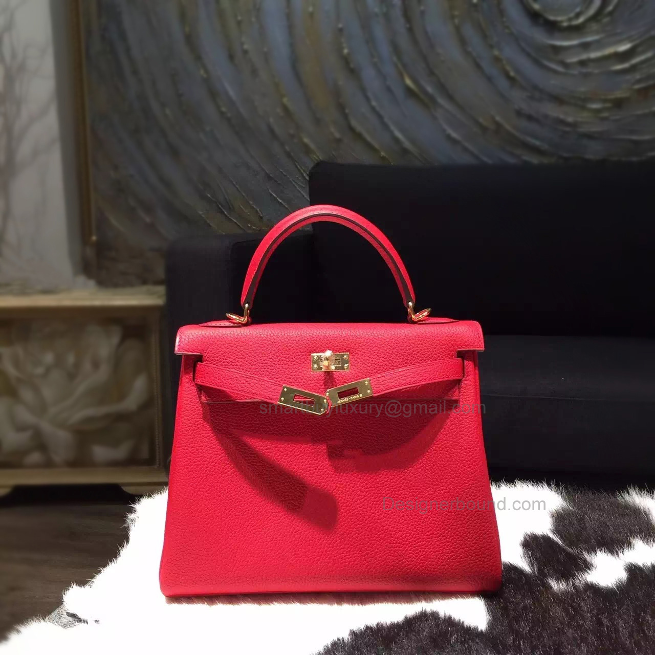 Fake Hermes Kelly 25 Handmade Bag in q5 Rouge Casaque Clemence Calfskin GHW