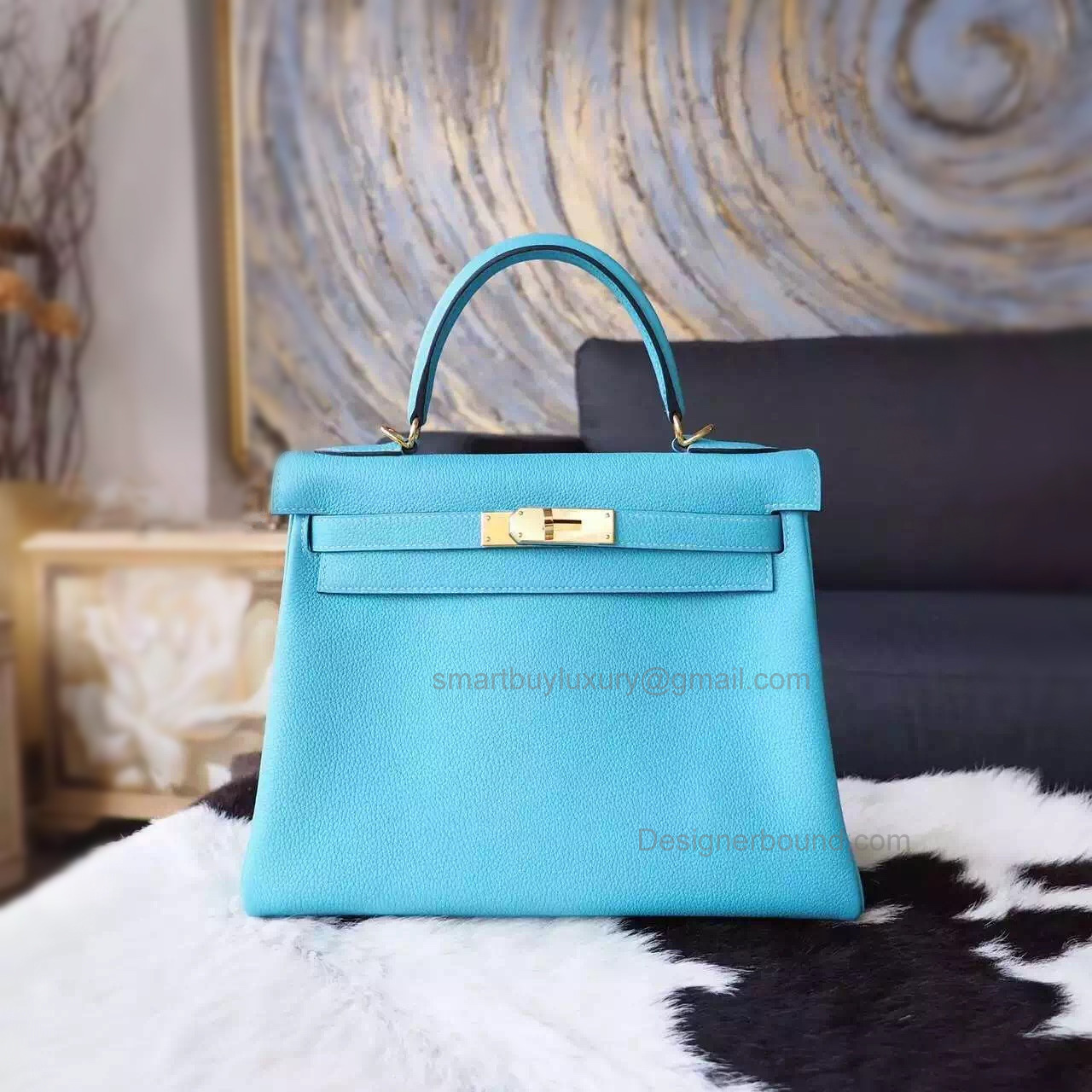 Copy Hermes Kelly 25 Handmade Bag in 3z Blue Saint Cyr Togo Calfskin GHW