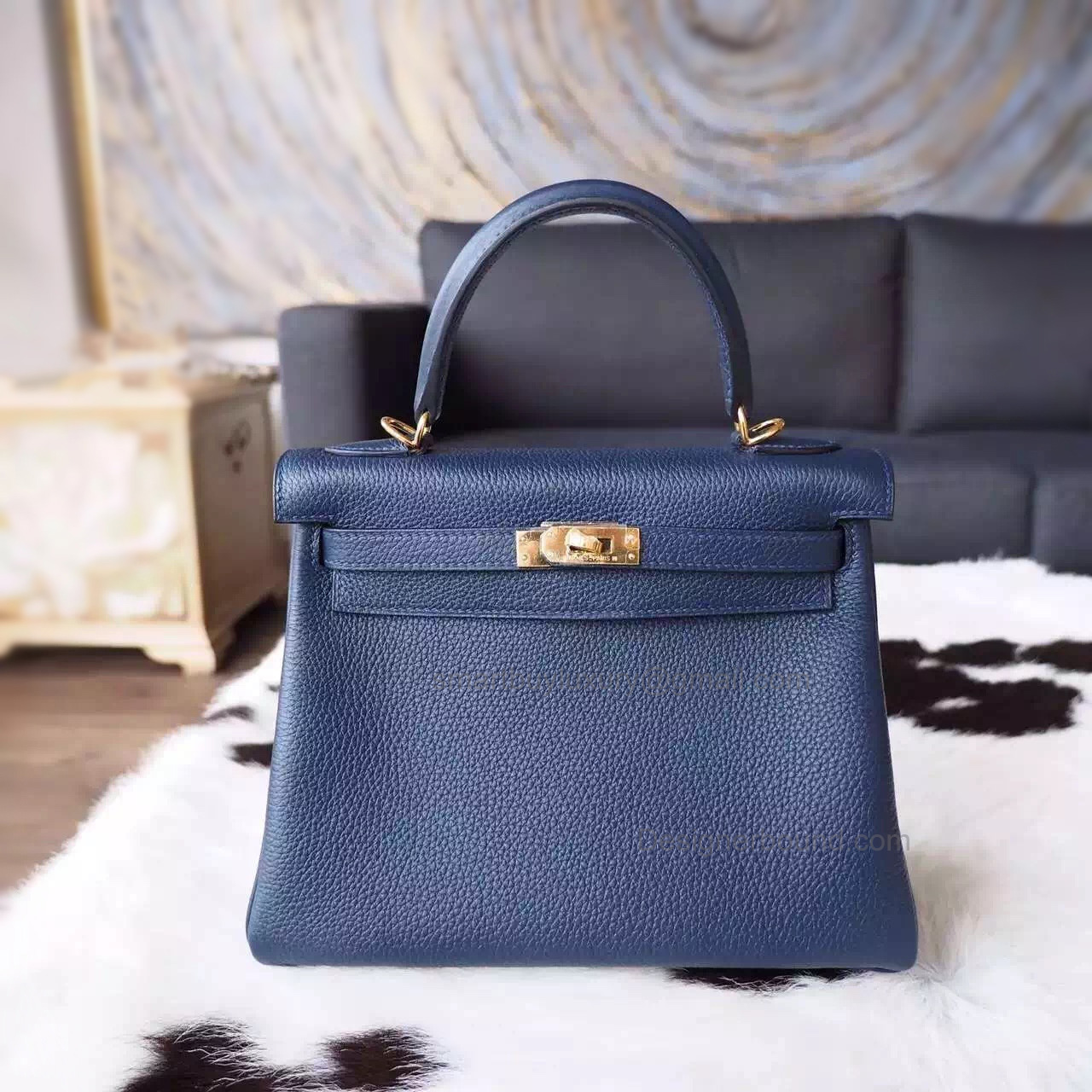 Copy Hermes Kelly 25 Handmade Bag in 2z Blue Niut Togo Calfskin GHW