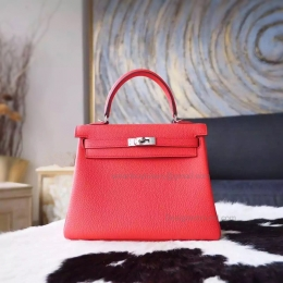 Copy Hermes Kelly 25 Handmade Bag in 2R Rouge Pivoine Togo Calfskin SHW
