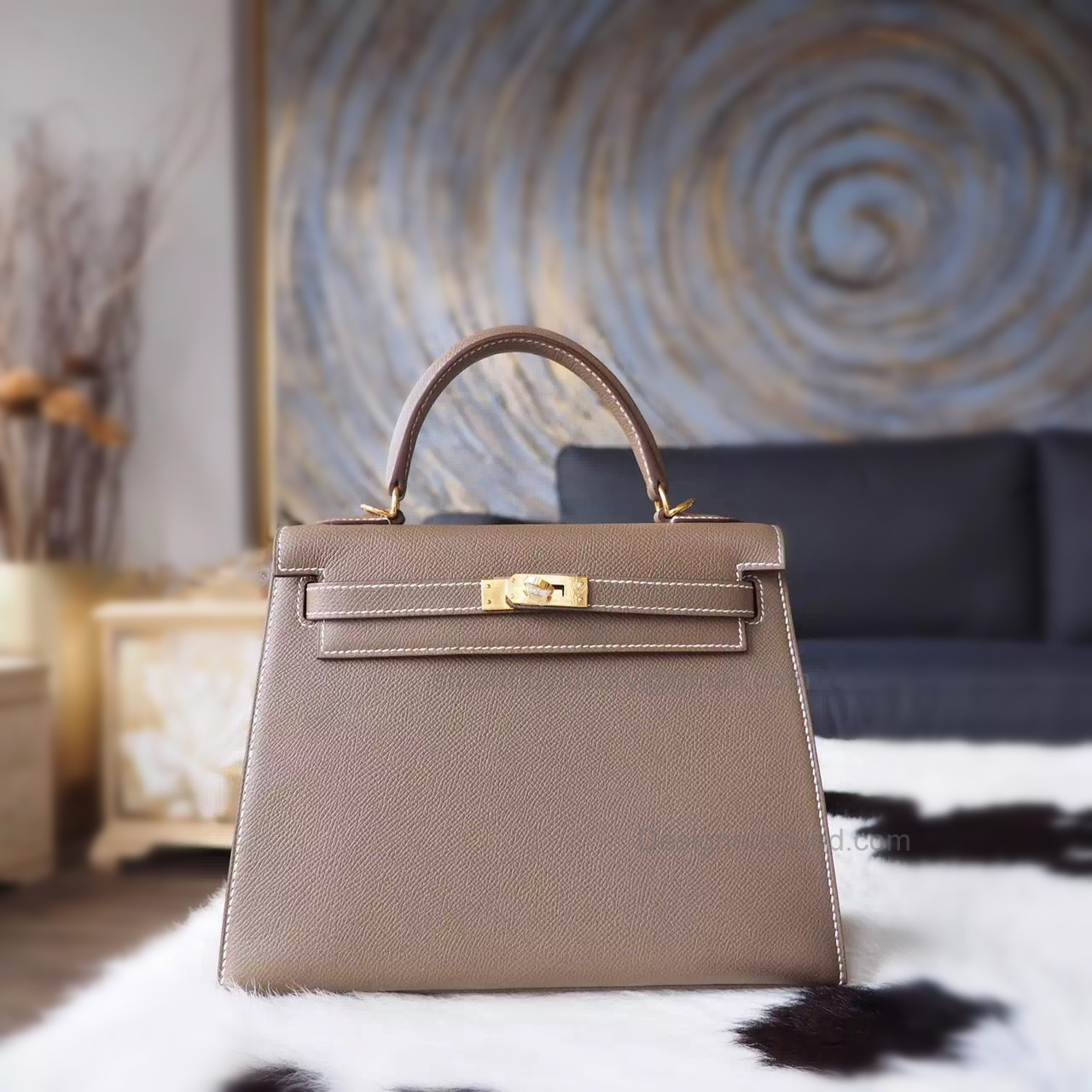 Knock Off Hermes Kelly 25 Handmade Bag in ck18 Etoupe Epsom Calfskin GHW