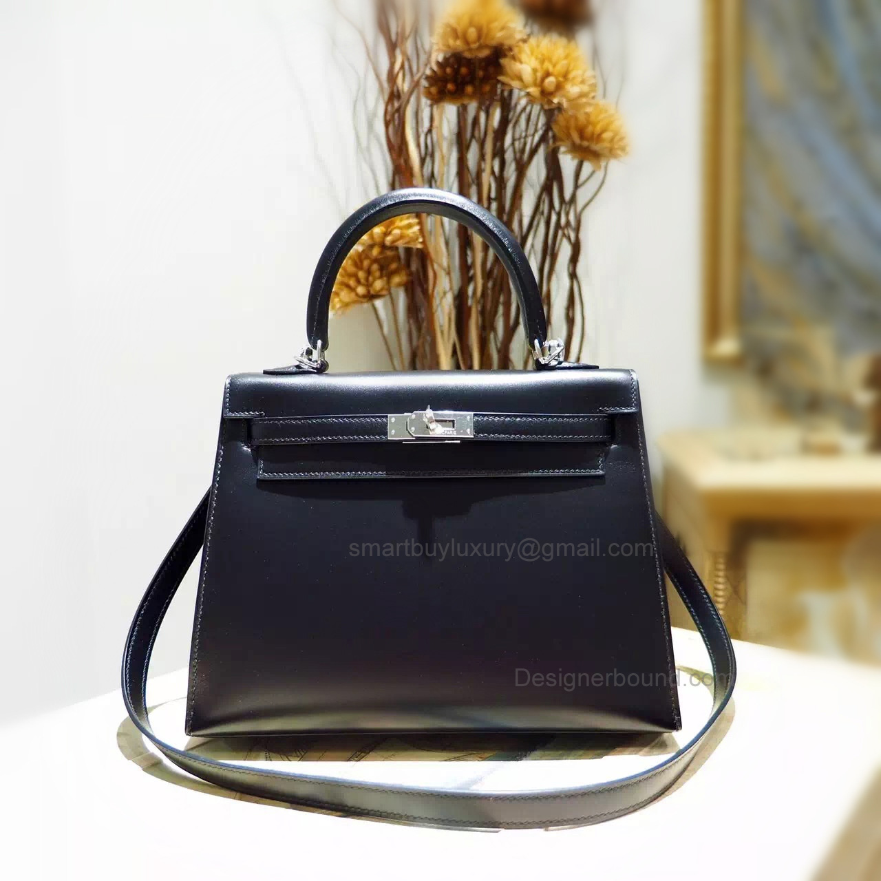 Knock Off Hermes Kelly 25 Hand Made Bag in ck89 Noir Box Calfskin SHW