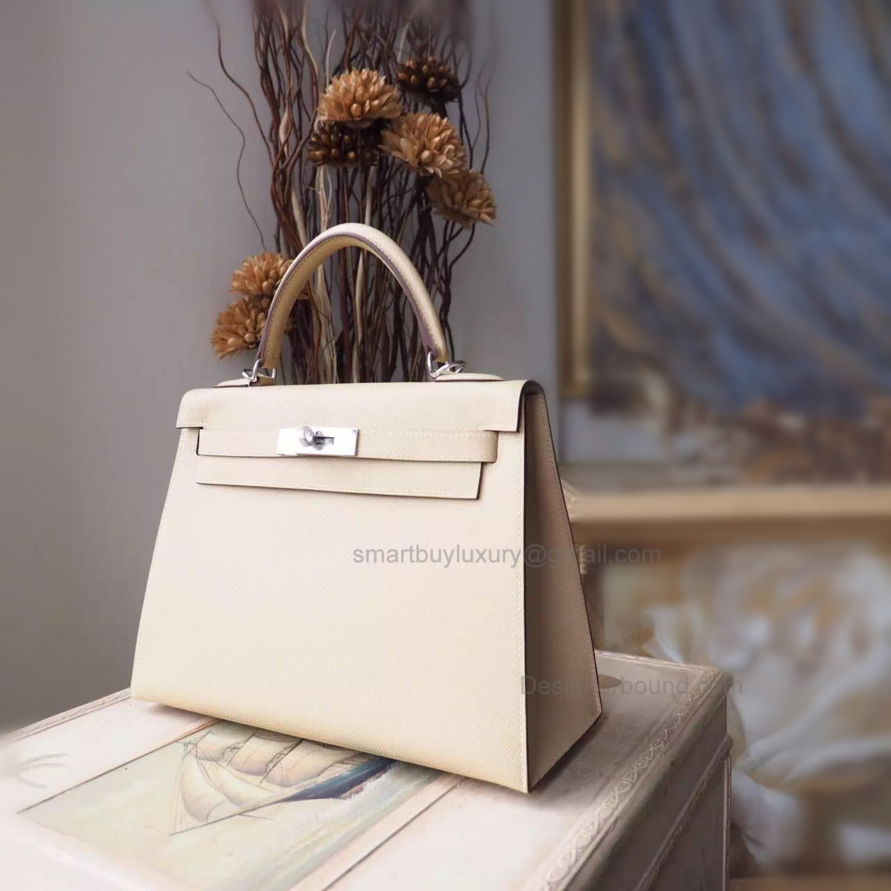 Replica Hermes Kelly 28 Handmade Bag in 3c Parchemin Espom Calfskin SHW
