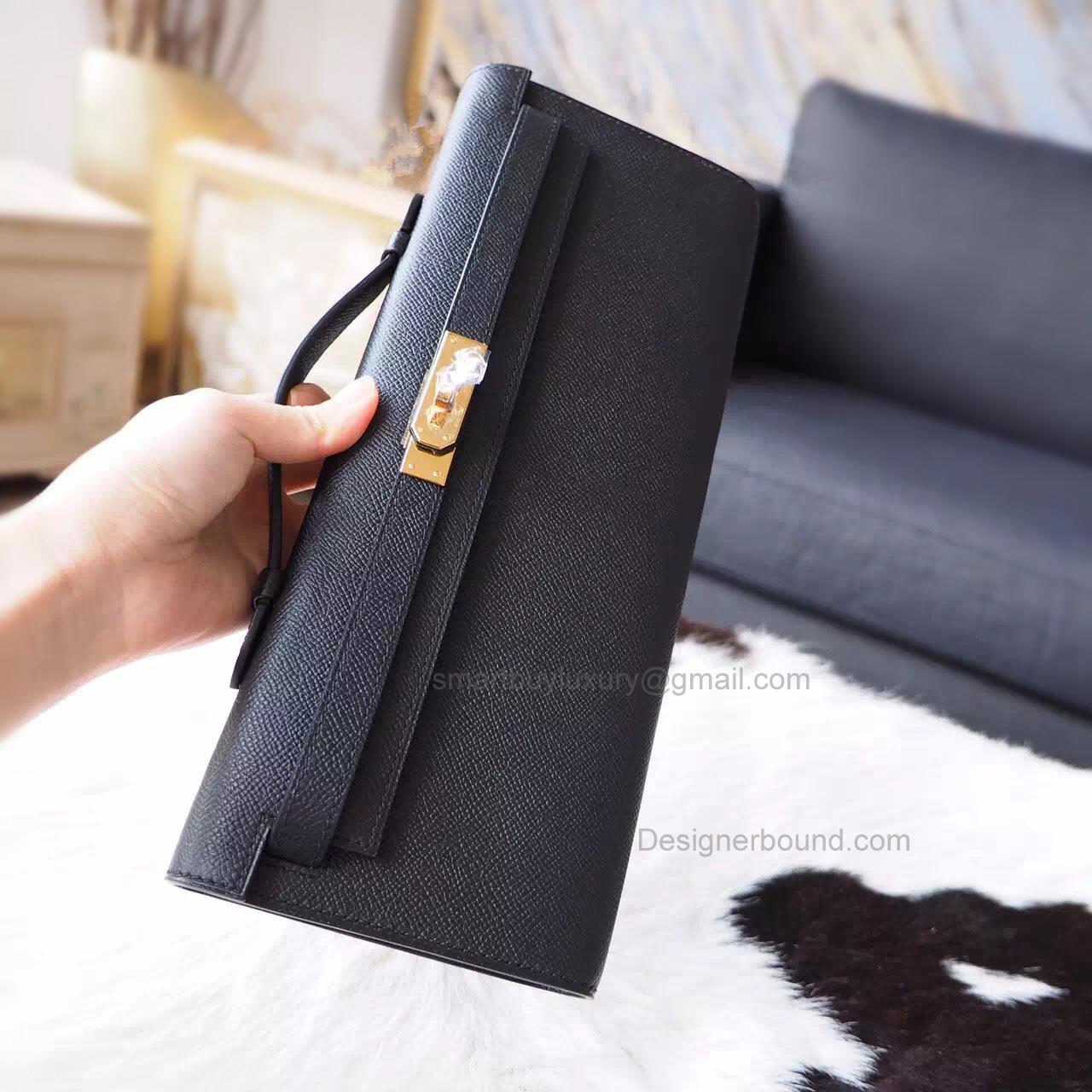 800d7bdc5f1e8 Handmade Hermes Kelly Cut Copy Clutch in ck89 Noir Epsom Calfskin GHW -