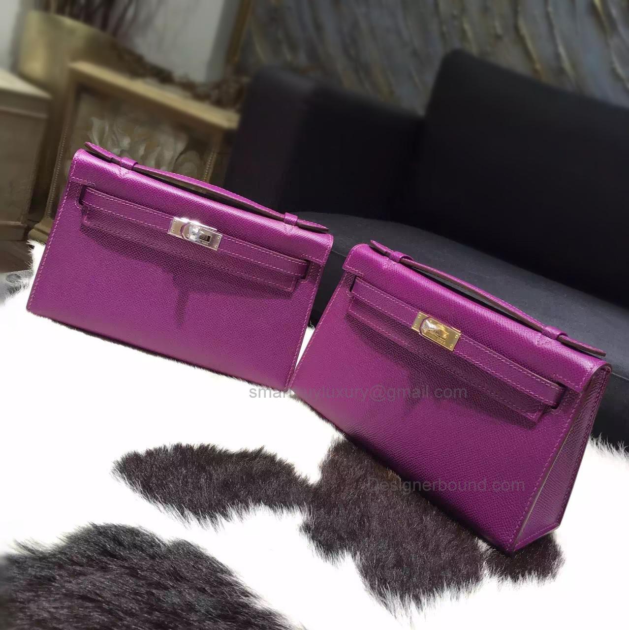 51d9868f21c6 Handmade Hermes Mini Kelly 22 Pochette Bag in p9 Anemone Epsom Calfskin