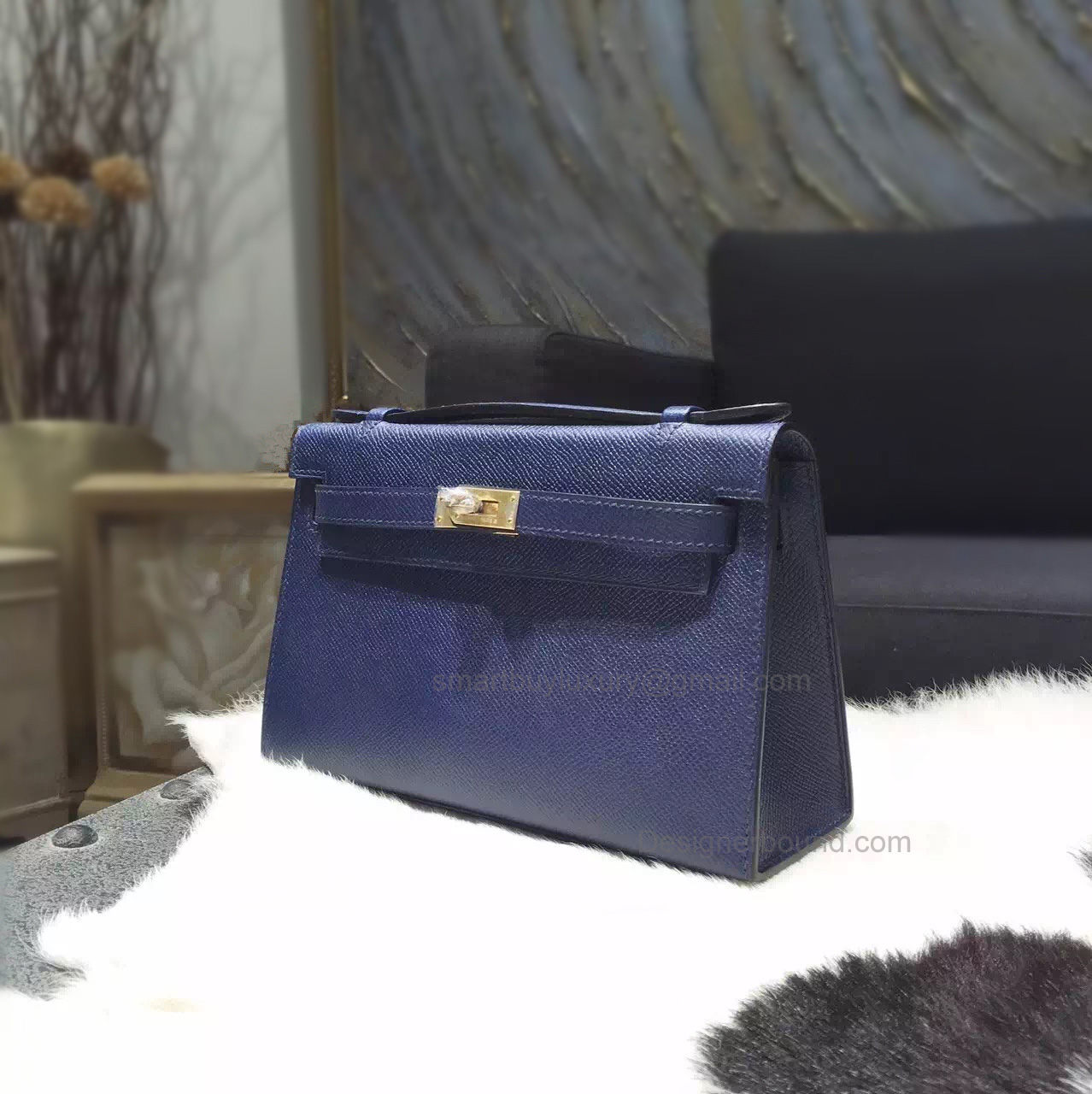 Copy Hermes Mini Kelly 22 Pochette Bag in ck37 Blue Saphir Epsom Calfskin GHW