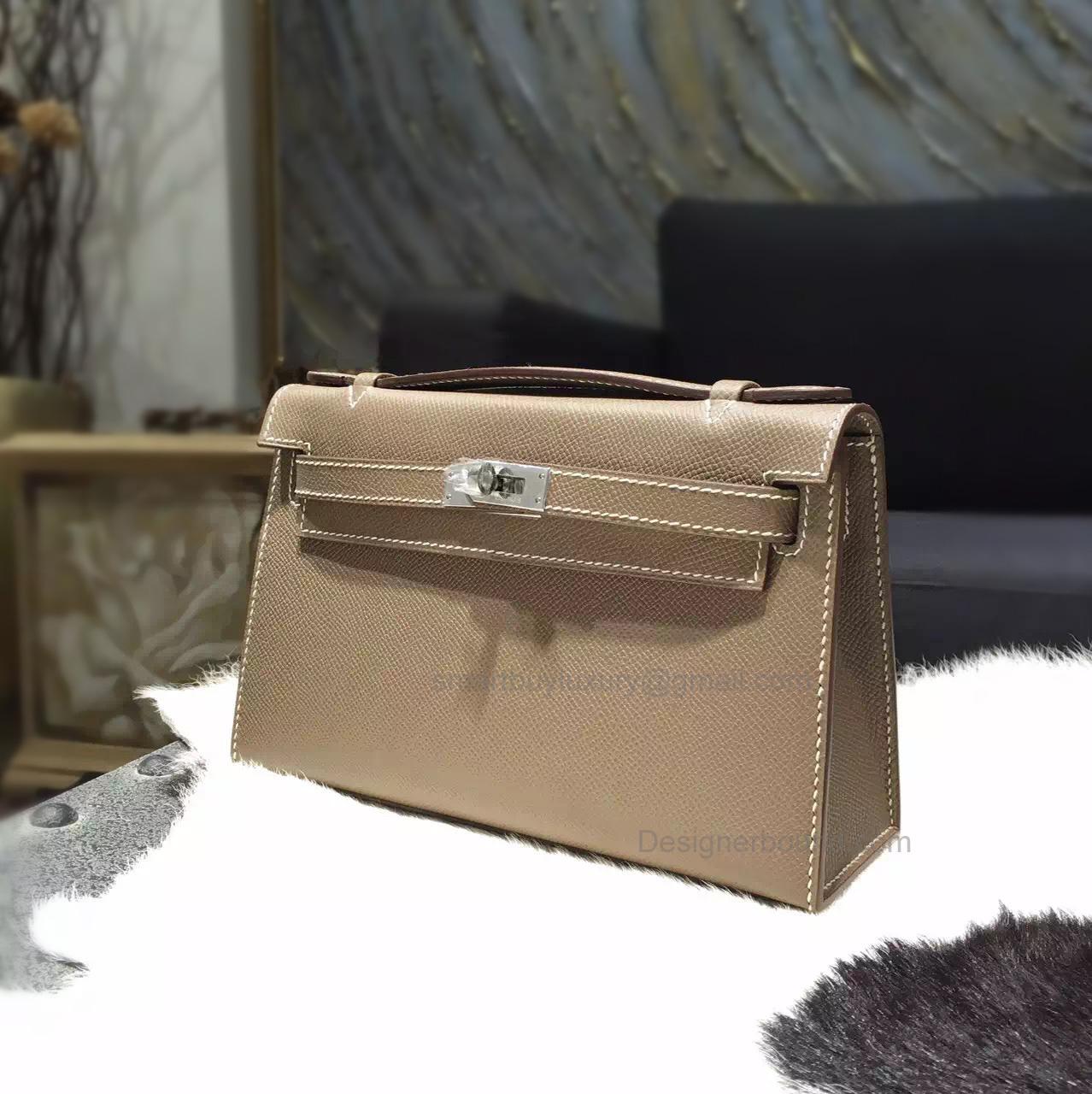 1681718c93d0b Handmade Hermes Mini Kelly 22 Pochette Bag in ck18 Etoupe Epsom Calfskin PHW