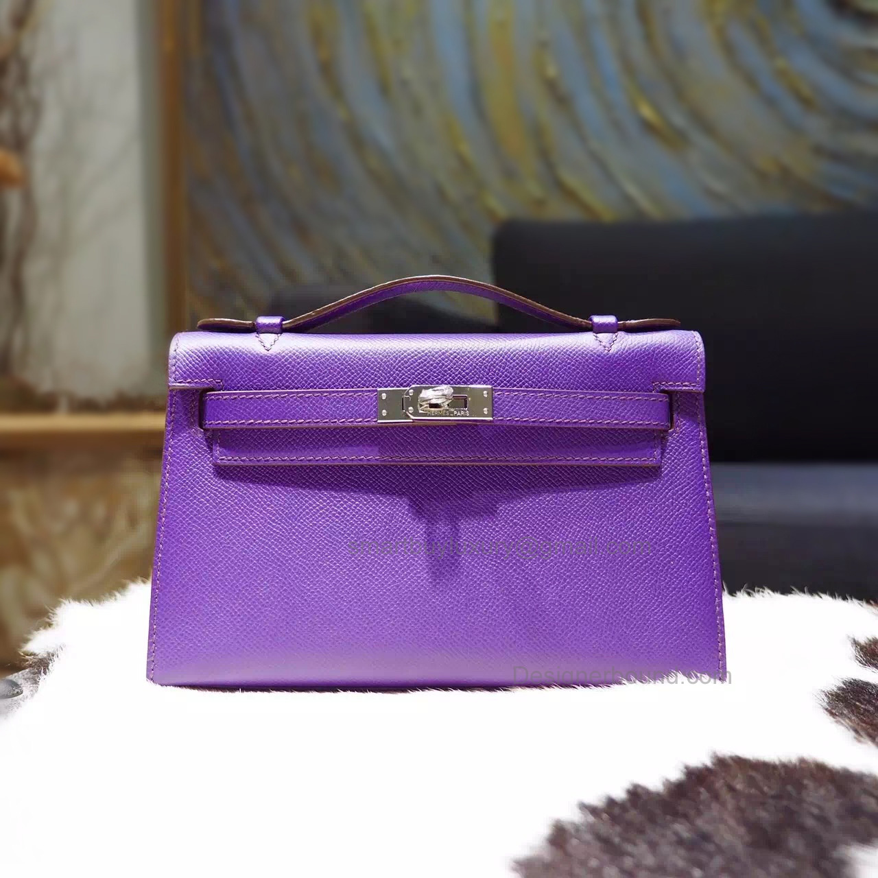 Replica Hermes Mini Kelly 22 Pochette Bag in 9w Crocus Epsom Calfskin PHW