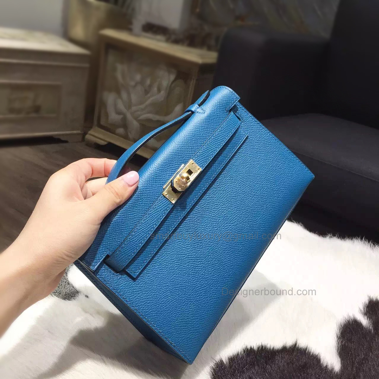 Fake Hermes Mini Kelly 22 Pochette Bag in 7w Blue Izmir Epsom Calfskin GHW