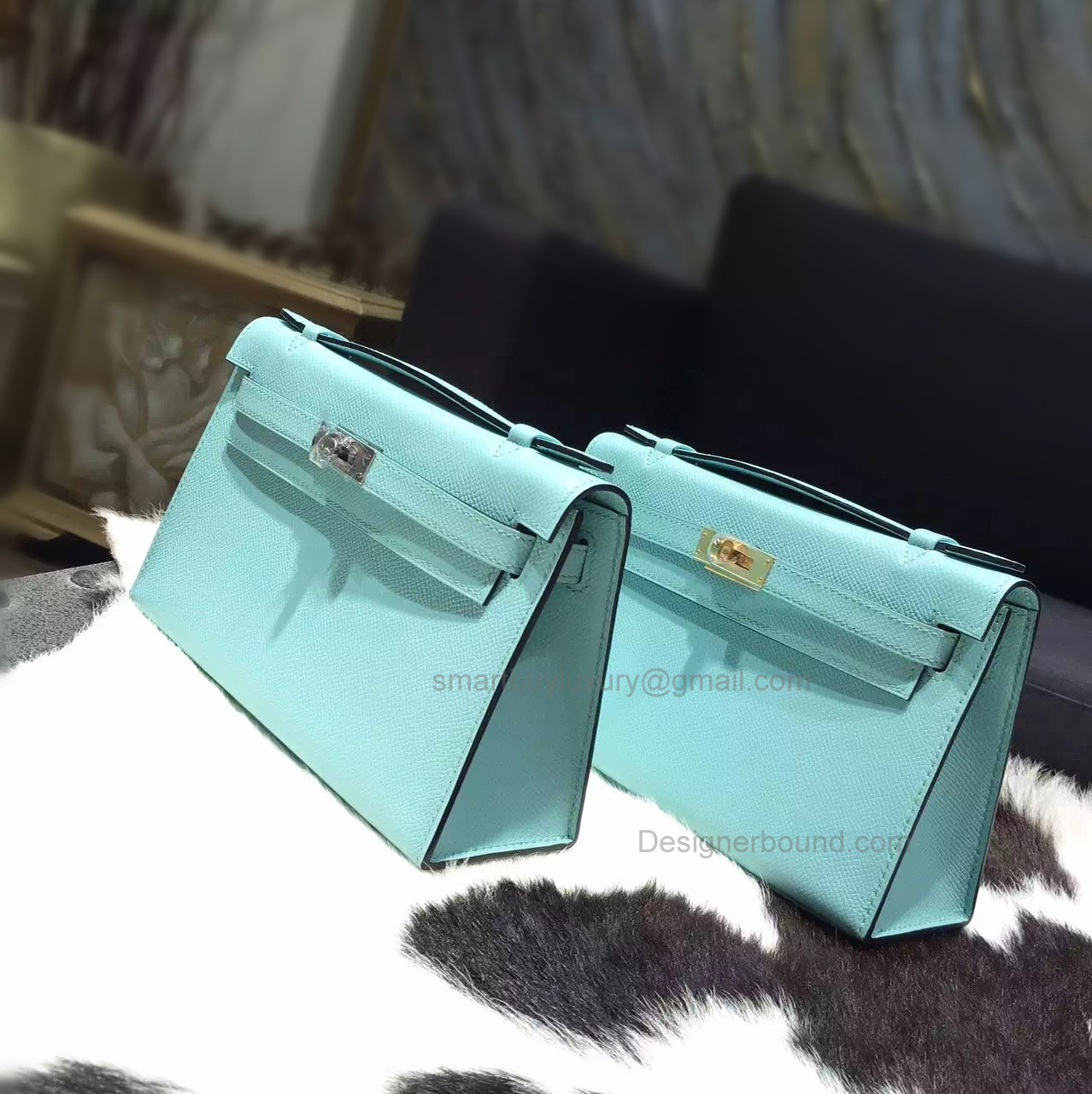 Handmade Hermes Mini Kelly 22 Pochette Bag in 3p Blue Atoll Epsom Calfskin