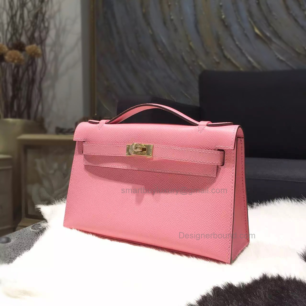 Fake Hermes Mini Kelly 22 Pochette Bag in 1q Rose Confetti Epsom Calfskin GHW