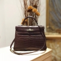 Replica Hermes Kelly 32 Handmade in ck47 Chocolat Matte Niloticus Croc PHW