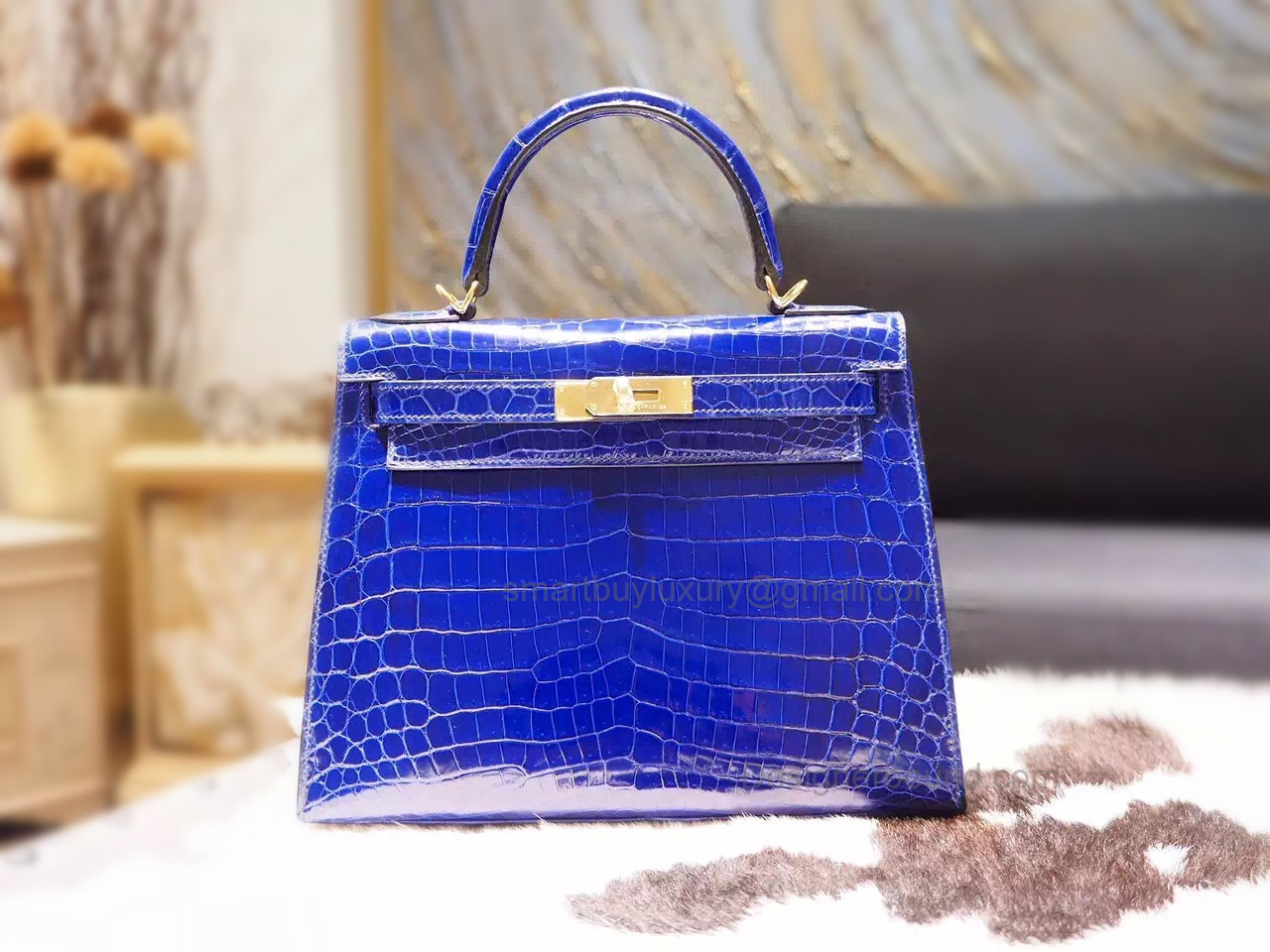 Copy Hermes Kelly 28 Bag Handmade in 7t Blue Electric Shining Nile Croc GHW