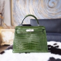 Replica Hermes Kelly 28 Bag Handmade in 6g Pelouse Shining Niloticus Croc SHW