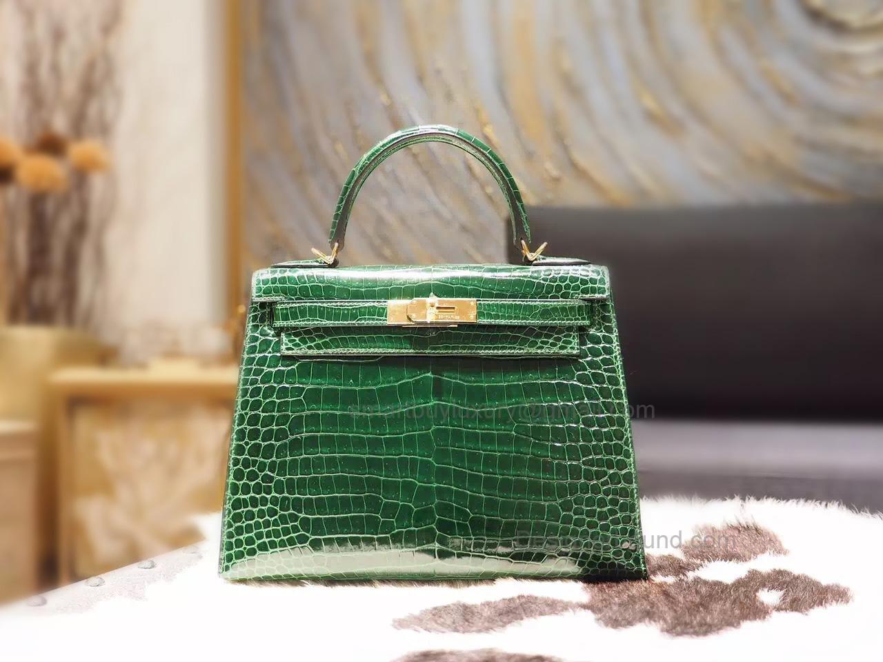 8c5fc550762e Replica Hermes Kelly 28 Bag Handmade in ck67 Vert Fonce Shining Porosus Croc  GHW