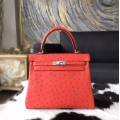 Replica Hermes Kelly 25 Handmade Bag in a5 Bougainvillier Ostrich SHW