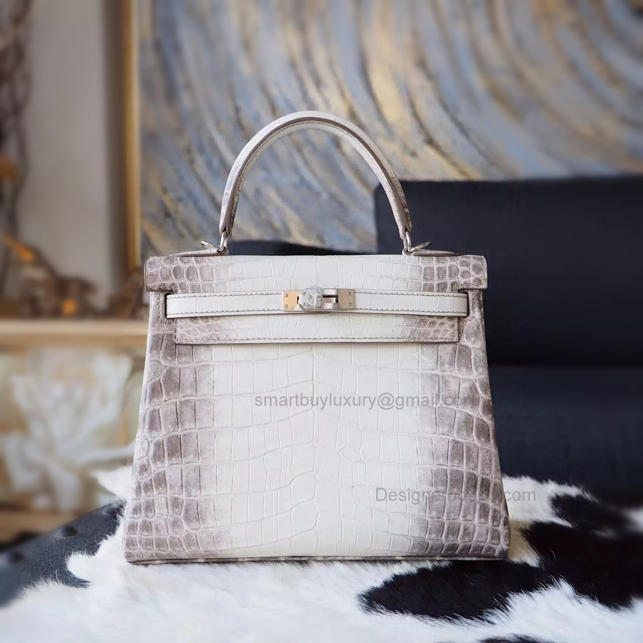 Replica Hermes Kelly 25 Handmade Bag in Himalaya Croc SHW