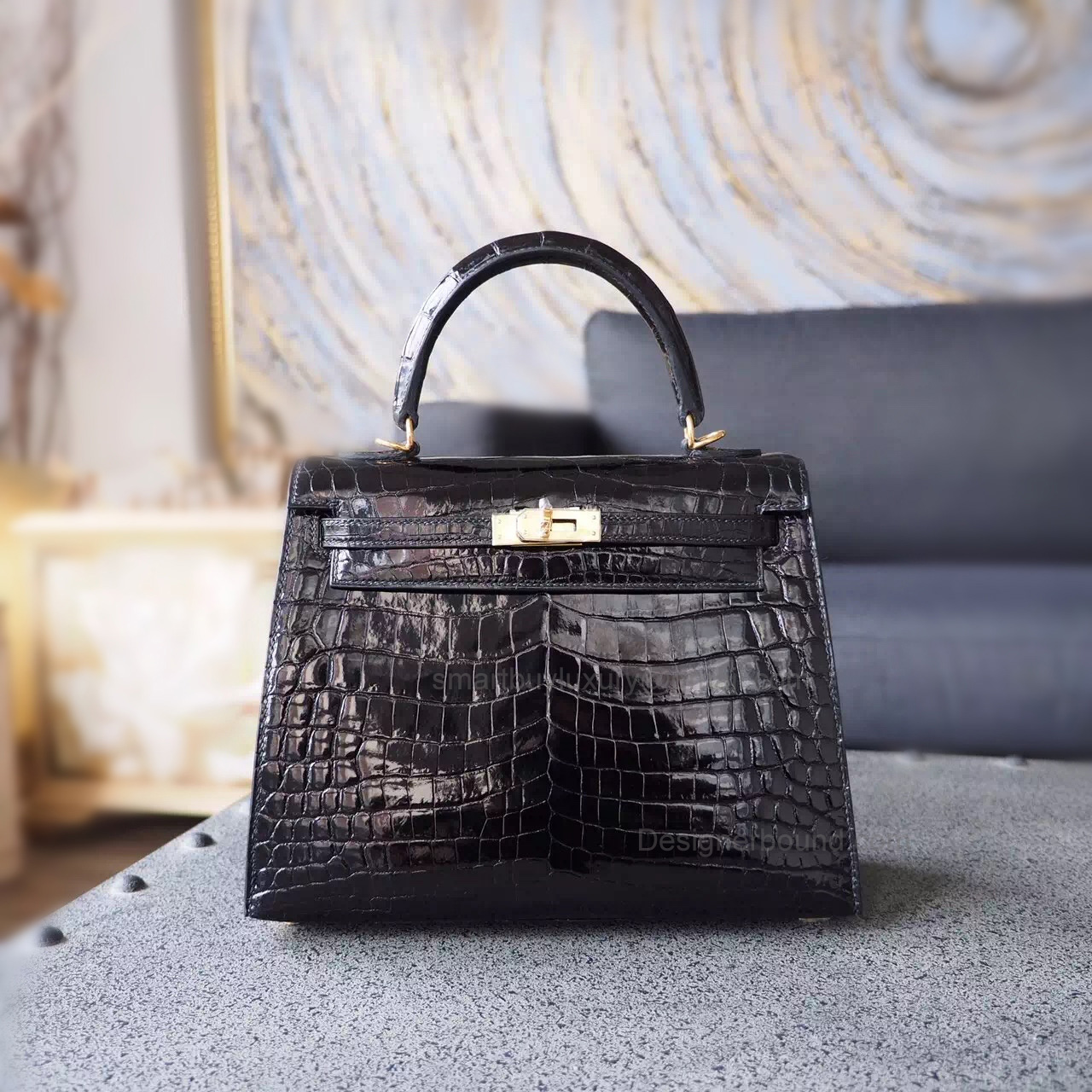 Replica Hermes Kelly 25 Handmade Bag in ck89 Noir Shining Niloticus Croc GHW b6941bd113928