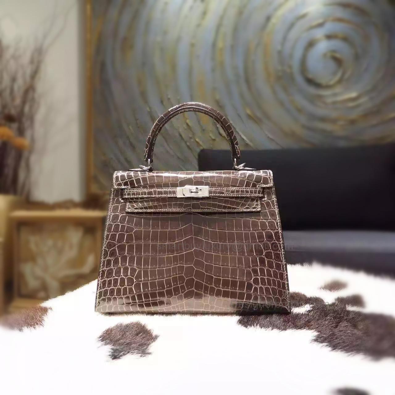 269aeb2156f7 Replica Hermes Kelly 25 Handmade Bag in ck88 Graphite Shining Porosus Croc  SHW