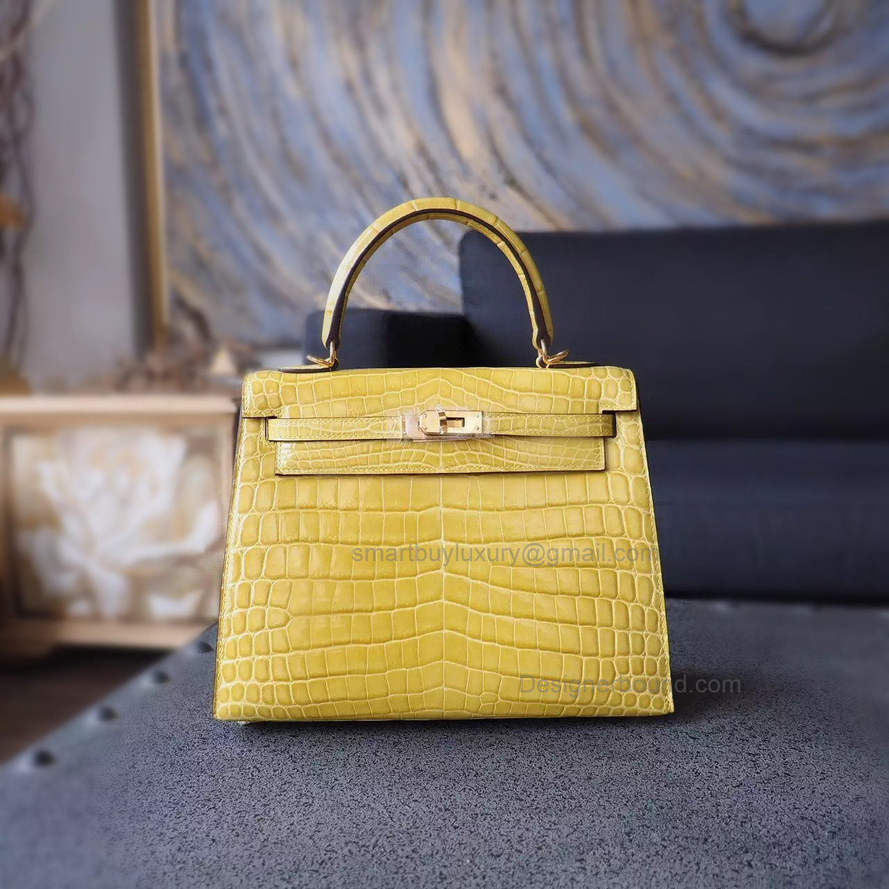 Replica Hermes Kelly 25 Handmade Bag in 9r Lime Shining Niloticus Croc GHW