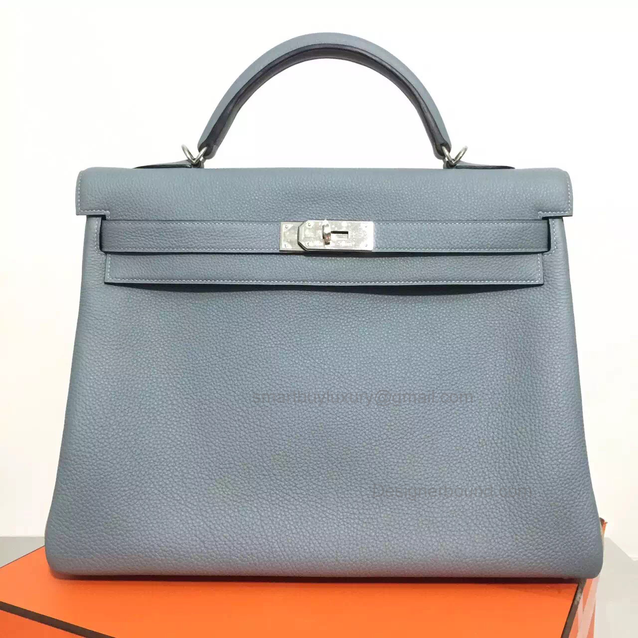 Handmade Hermes Kelly 40 Copy Bag in Bicolored j7 Blue Lin Togo Calfskin PHW