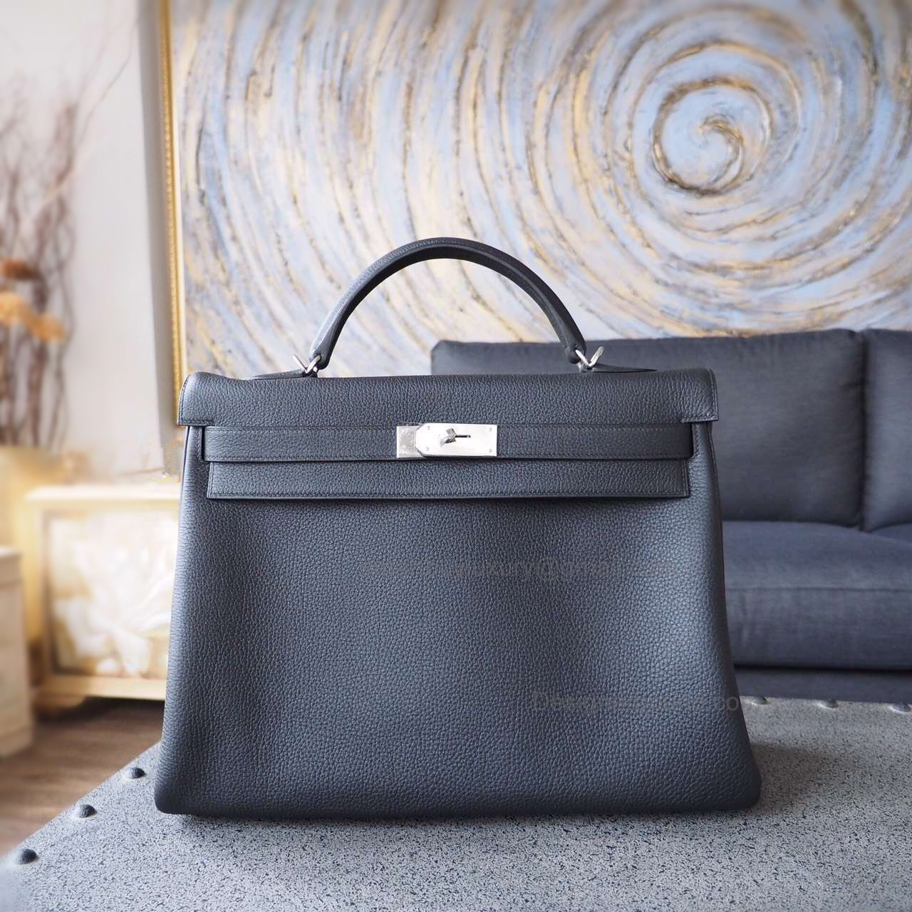 Handmade Hermes Kelly 40 Copy Bag in ck89 Noir Togo Calfskin PHW