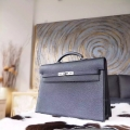 Handstitched Hermes Kelly 38 Copy Bag in ck89 Noir Togo Calfskin PHW