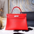 Hermes Kelly 32 Copy Bag in q5 Rouge Casaque Swift Calfskin PHW