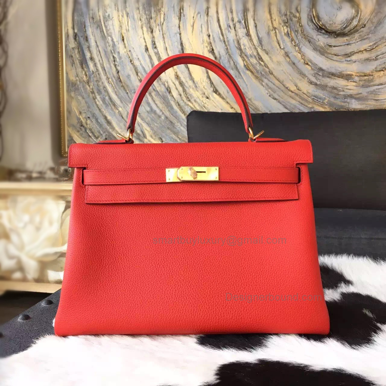 Hand Stitched Hermes Kelly 32 Copy Bag in q5 Rouge Casaque Togo Calfskin GHW