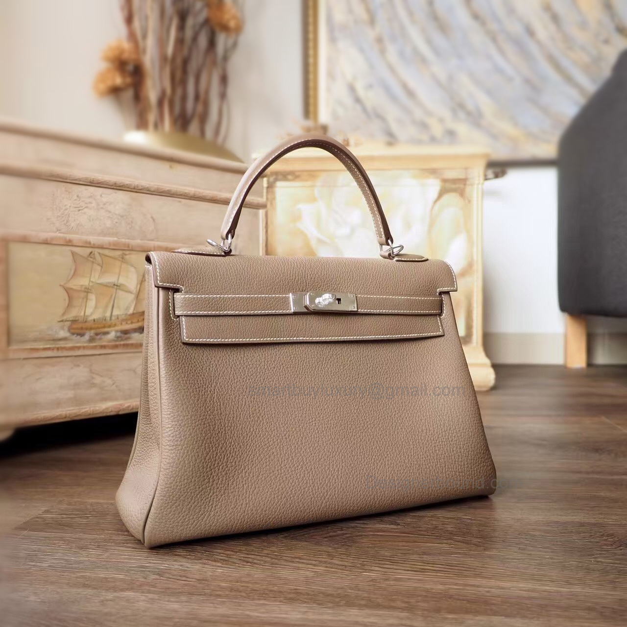 Hand Stitched Hermes Kelly 32 Copy Bag in ck18 Etoupe Togo Calfskin PHW