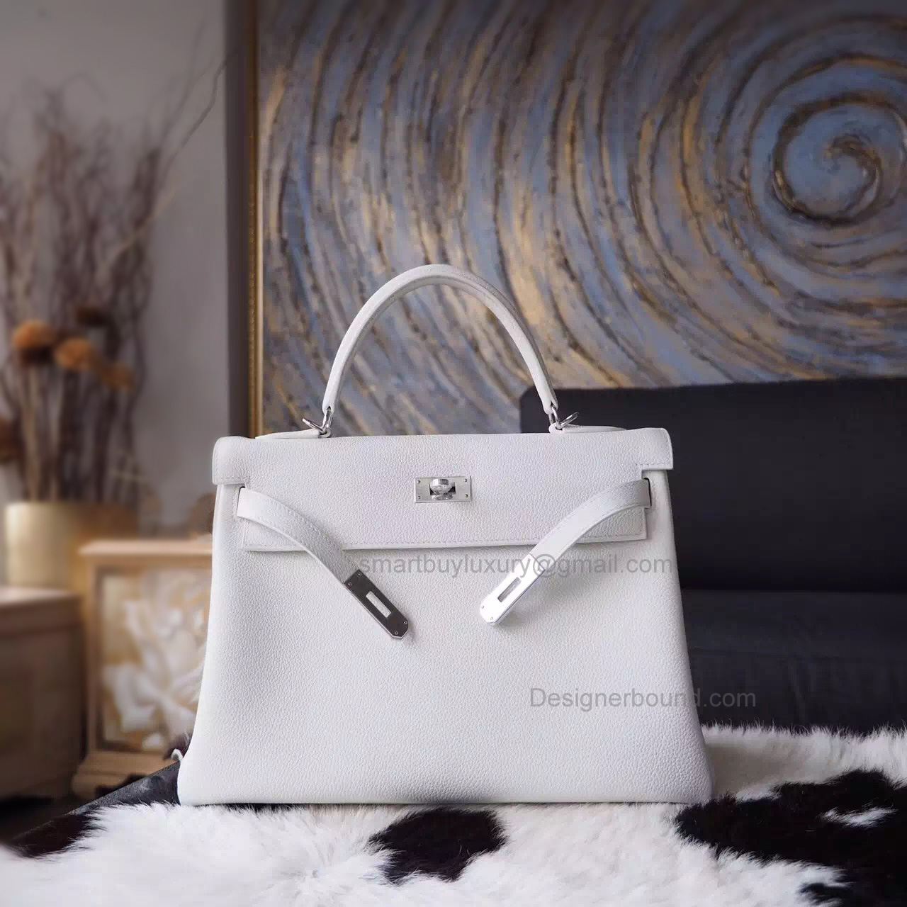 Hand Stitched Hermes Kelly 32 Copy Bag in cc01 Blanc Togo Calfskin PHW