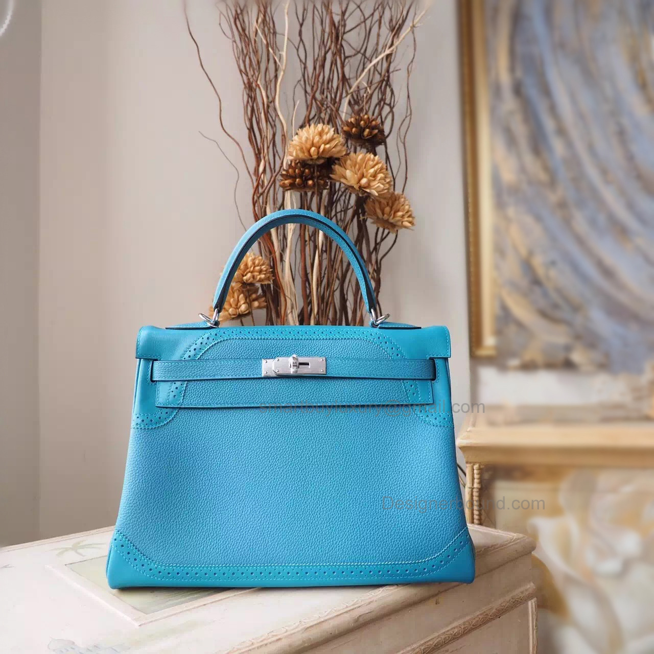 Handmade Hermes Kelly 32 Ghillies Copy Bag in 7b Turquoise Blue Calfskin PHW