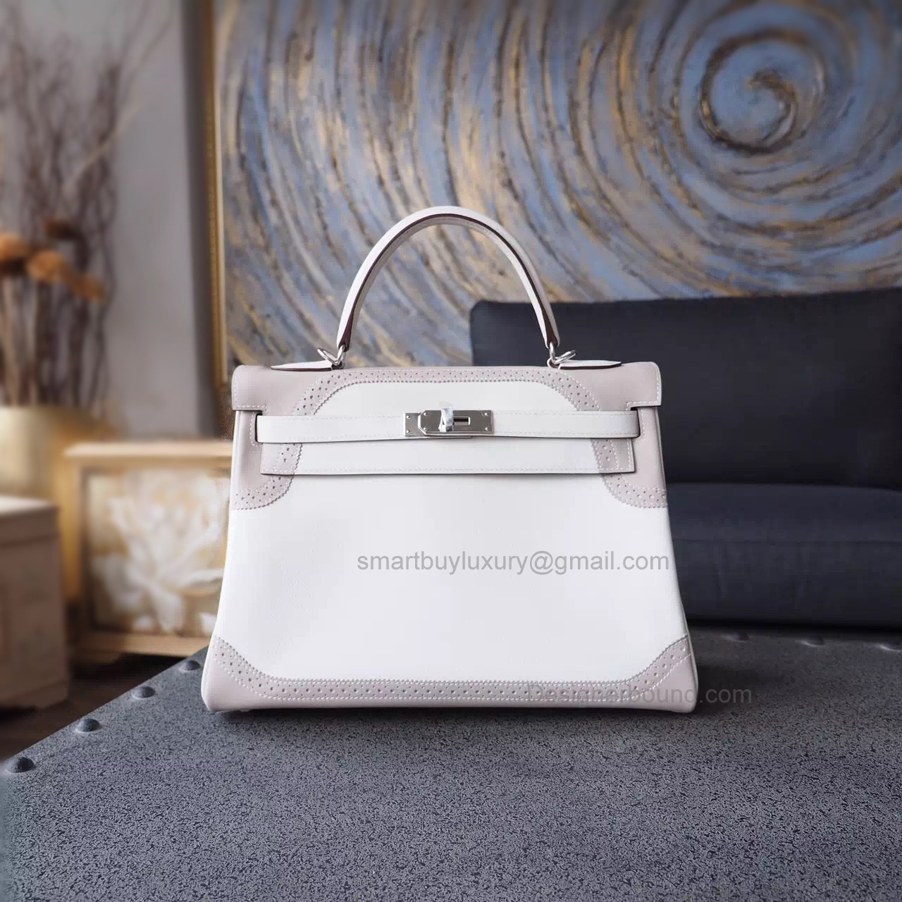 Hermes Kelly 32 Ghillies Copy Bag in Bicolored cc01 Blanc Swift Calfskin PHW
