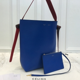 Replica Celine Small Twisted Cabas in Electric Blue and Moss Green Calfskin