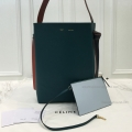 Replica Celine Small Twisted Cabas in Green Smoke and Pale Blue Calfskin